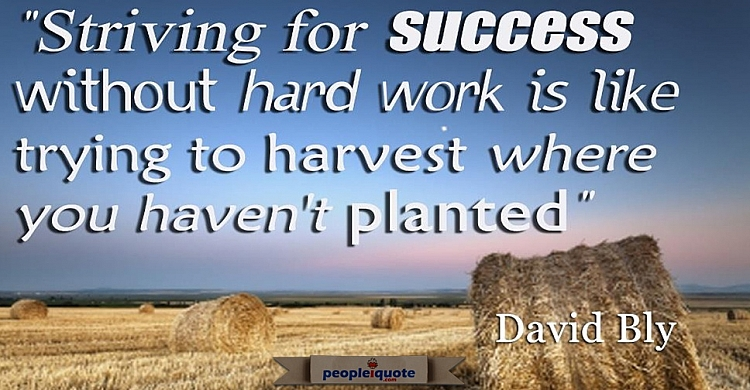 Striving for success without hard work is like trying to harvest where you haven't planted. -David B